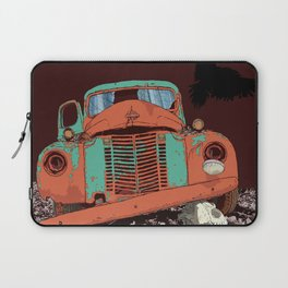 Art print: Old vintage car, the Raven and the Wolf skull Laptop Sleeve