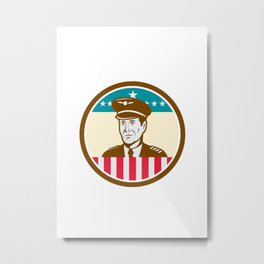 Airline Pilot Aviator USA Flag Circle Retro Metal Print