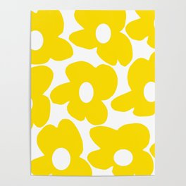 Large Yellow Retro Flowers on White Background #decor #society6 #buyart Poster