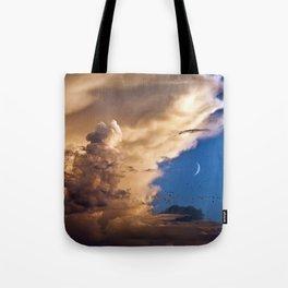 Clouds, Birds, Moon, Venus Tote Bag