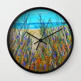 Beach flowers, impressionism ocean art, wildflowers on the beach Wall Clock