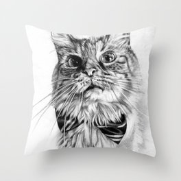 Reggie the Cat, realistic graphite drawing Throw Pillow