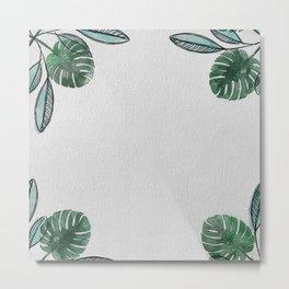 Monstera Leaf Pattern 2 Metal Print