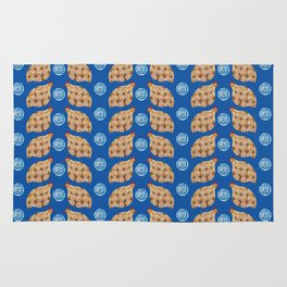 Gold guinea fowl pattern on blue Rug