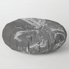 Toilet Seat Patent - Bathroom Art - Black Chalkboard Floor Pillow