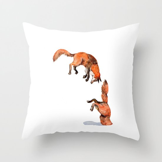 Jumping Red Fox Throw Pillow