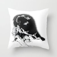 conan Throw Pillows featuring old ass conan by RandomRobot