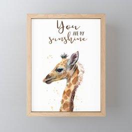 You Are My Sunshine Giraffe Nursery Animals Watercolor Art Framed Mini Art Print