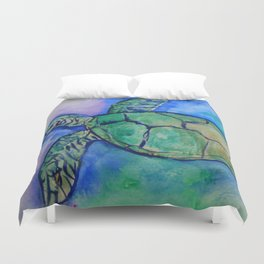 Sea Turtle Watercolor Painting Duvet Cover