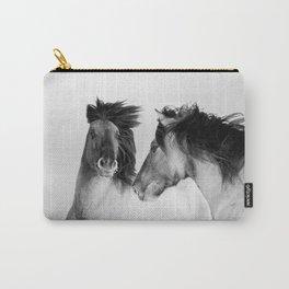 Two wild horses monochrome portrait Carry-All Pouch