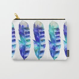 Blue Turquoise Watercolor Feather Art Carry-All Pouch