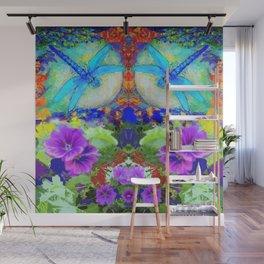"""BLUE """"ZINGER"""" DRAGONFLIES  & PURPLE FLOWERS ART Wall Mural"""