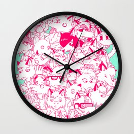 FULL OF FOXES Wall Clock