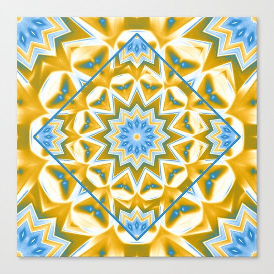Wheel cover kaleidoscope in blue and gold Canvas Print