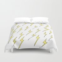 lightning Duvet Covers featuring Lightning by Jess Driscoll