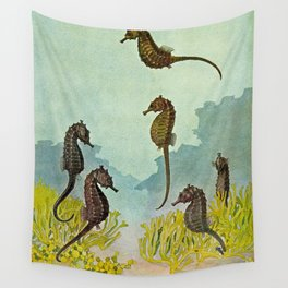 Hippocampus - Hashime Murayama - 1920 Seahorse Illustration Marine Life Wall Tapestry