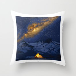 Glowing Tent Under Milky Way Throw Pillow