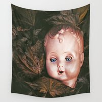 creepy Wall Tapestries featuring Creepy Doll by Maria Heyens