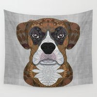 boxer Wall Tapestries featuring Boxer by ArtLovePassion