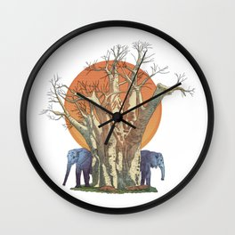Elephants By Sunset Wall Clock