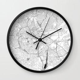 Nashville White Map Wall Clock