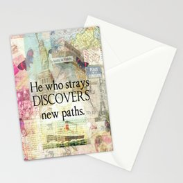 He who strays discovers new paths. TRAVEL QUOTE Stationery Cards
