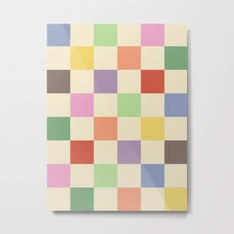 Colorful Checkered Pattern Metal Print