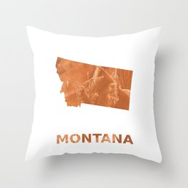 Montana map outline Peru hand-drawn wash drawing Throw Pillow