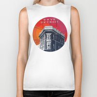 detroit Biker Tanks featuring Save Detroit by The Mighty Mitten - Great Lakes Art