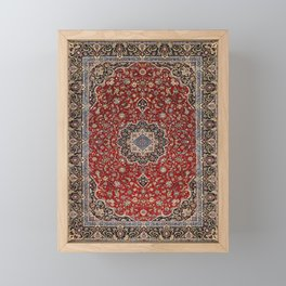 N63 - Red Heritage Oriental Traditional Moroccan Style Artwork Framed Mini Art Print
