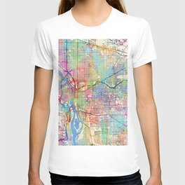 Portland Oregon City Map T-shirt