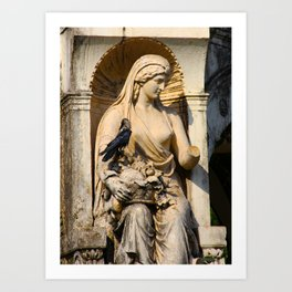 Crow on Statue Art Print