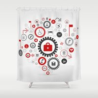 medicine Shower Curtains featuring Medicine gear wheel by aleksander1