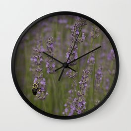 Busy Lavender Bee Wall Clock