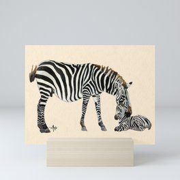 Plains Zebras Watercolor Mini Art Print