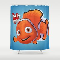 finding nemo Shower Curtains featuring nemo  , nemo  games, nemo  blanket, nemo  duvet cover by ira gora