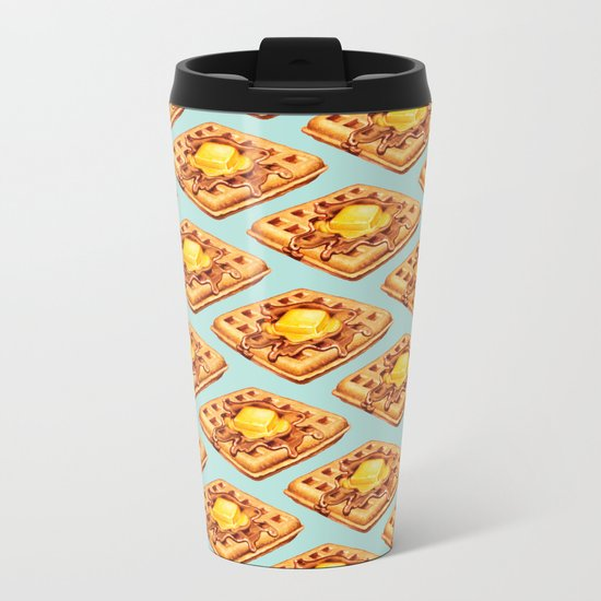 Waffle Pattern Metal Travel Mug