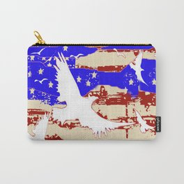 RED-WHITE-BLUE EAGLES & PATRIOTISM FLAG Carry-All Pouch
