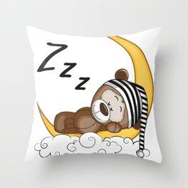 Sleeping Teddy Bear Throw Pillow