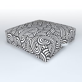 Black and white swirls doodles Outdoor Floor Cushion