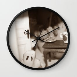 Welcome To Our (Spooky) Home Sepia Wall Clock