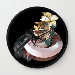 Gold Flowers Wall Clock
