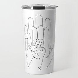 Family of Three Hands in One Line Art Travel Mug