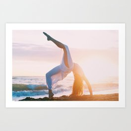 Yoga pose at the beach Art Print