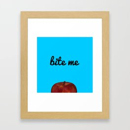 Bite Me - Blue Background Framed Art Print