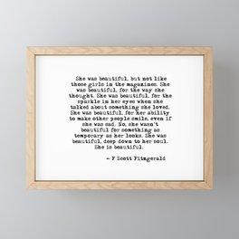 She was beautiful - Fitzgerald quote Framed Mini Art Print