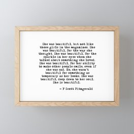 She was beautiful - Fitzgerald quote Framed Mini Art Print