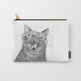 vixen fox wearing a crown of peonies Carry-All Pouch