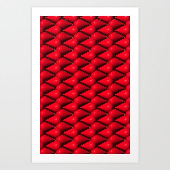 Red Tear Drop Pattern Art Print