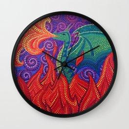 Green dragon pointillism dotillism dotart Wall Clock